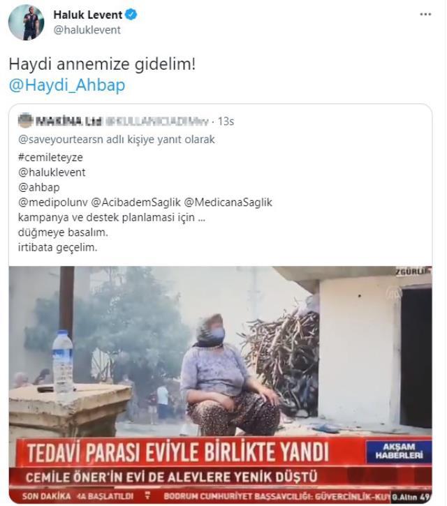 Haluk Levent, tedavi parası Manavgat'taki yangında küle dönen Cemile Öner'e yardım etmek için harekete geçti