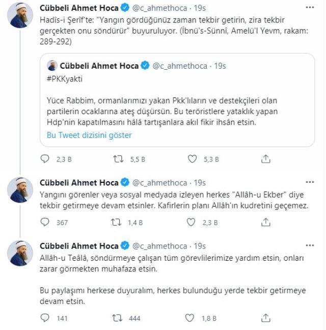 'Tekbirler yangını söndürür' paylaşımı yapan Cübbeli Ahmet Hoca geri adım attı