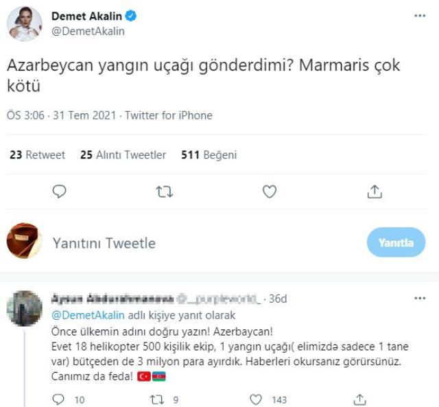 'Azerbeycan yangın uçağı gönderdi mi?' diyen Demet Akalın'a Azeri takipçisinden sert cevap: Önce ülkenin adını doğru yazın