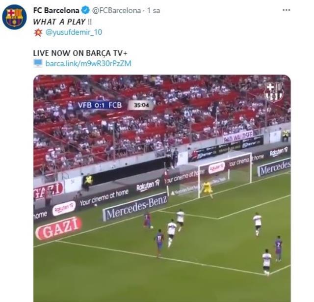 Barcelona'da forma giyen Türk yıldız Yusuf Demir'den klas gol! Katalan devinin paylaşımı beğeni yağmuruna tutuldu