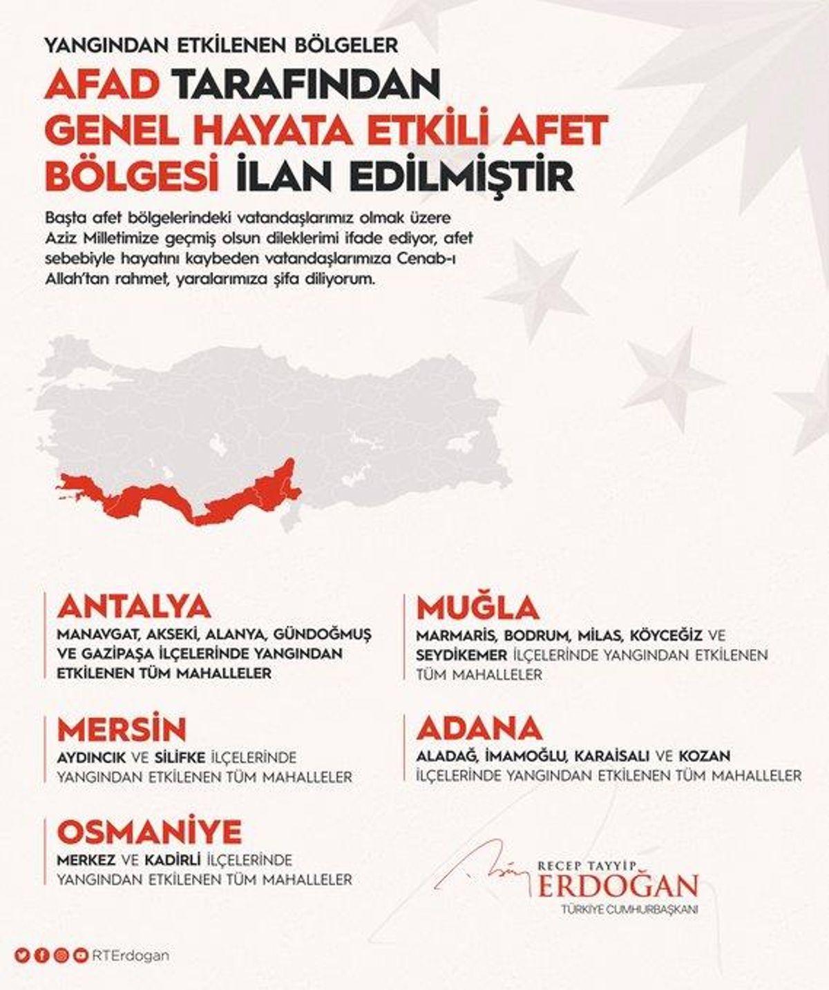 Erdoğan, orman yangınlarından etkilenen alanların