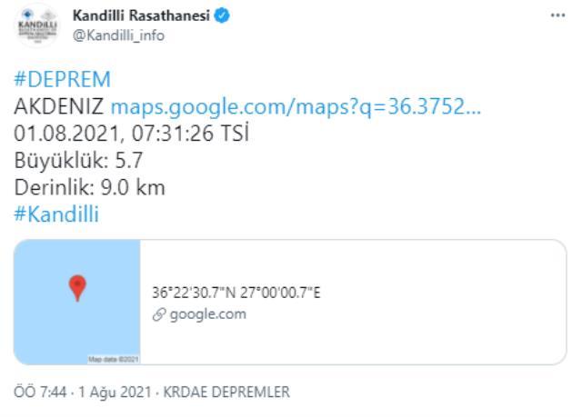 Son Dakika: Muğla'nın Datça ilçesi açıklarında 5.5 büyüklüğünde bir deprem meydana geldi