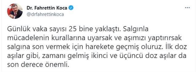 Son Dakika: Türkiye'de 3 Ağustos günü koronavirüs nedeniyle 126 kişi vefat etti, 24 bin 832 yeni vaka tespit edildi