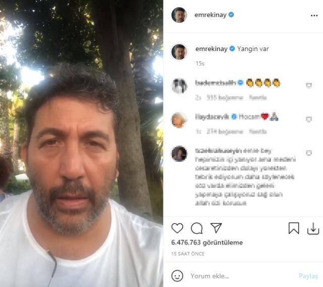 Yangınlara sitem eden Emre Kınay'ın videosu sosyal medyada gündem oldu