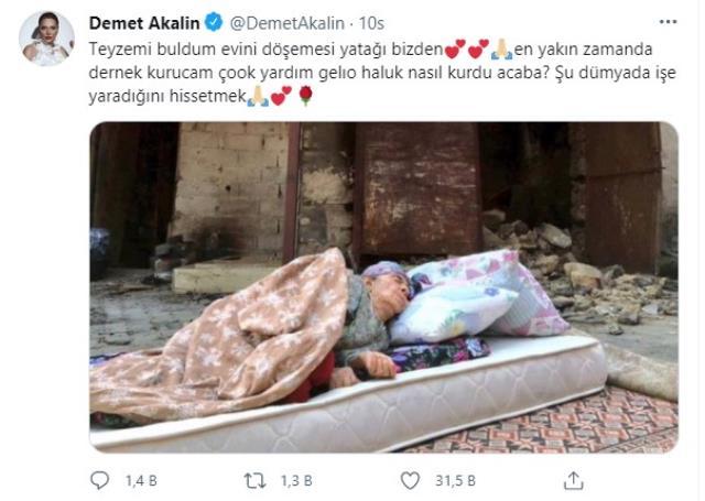 Yardımlarıyla alkış toplayan Demet Akalın, küle dönen evinin önünde uyuyan teyzeye de ulaştı