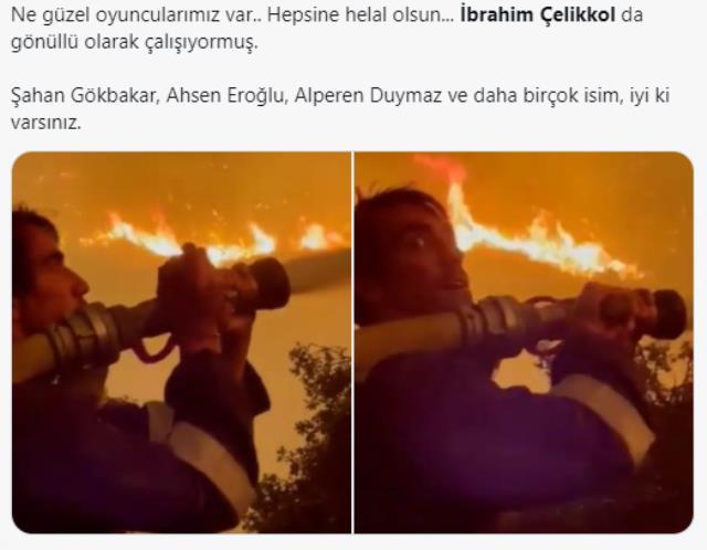 Oyuncu İbrahim Çelikkol termik santrale yaklaşan alevlerin içine hortumla daldı