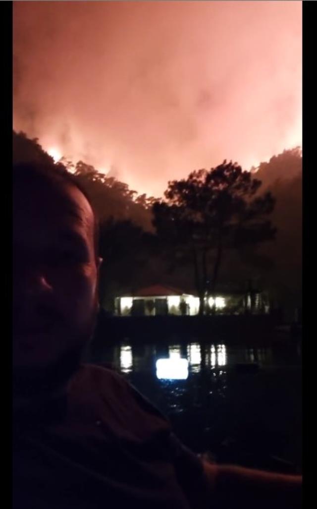Yangın müdahale ekibine yardım eden Şahan Gökbakar, kontrol altına alınan ormanın son halini paylaştı
