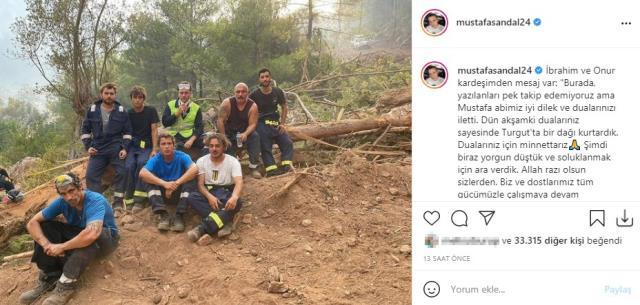Mustafa Sandal, yangın söndürme ekibindeki İbrahim Çelikkol'un mesajını paylaştı: Dualarınız için minnettarız