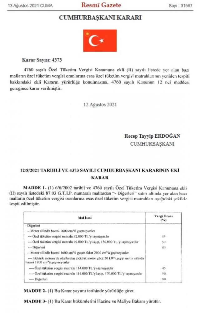 Binek araçlardaki ÖTV matrah değişikliği Resmi Gazete'de yayımlandı! Otomobil fiyatlarına indirim olarak yansıyacak