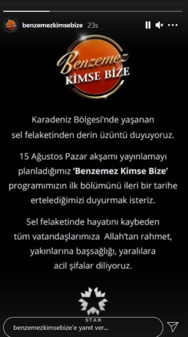Bülent Ersoy ve Mustafa Keser'in programının ilk bölümü sel nedeniyle ertelendi