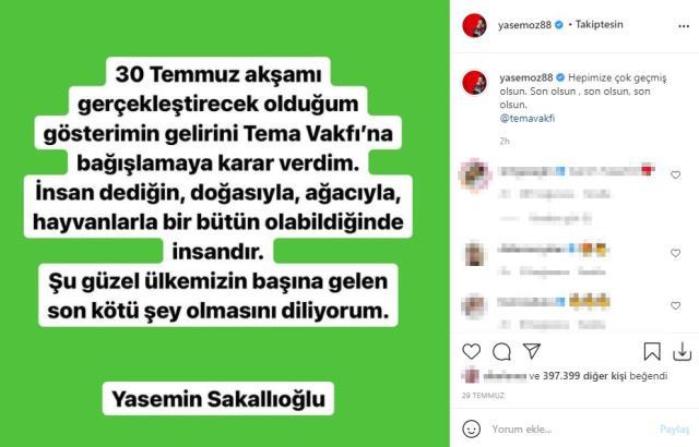 Harbiye'de sahneye çıkacak olan Yasemin Sakallıoğlu, gelirini sel felaketi yaşayan iller için bağışladı