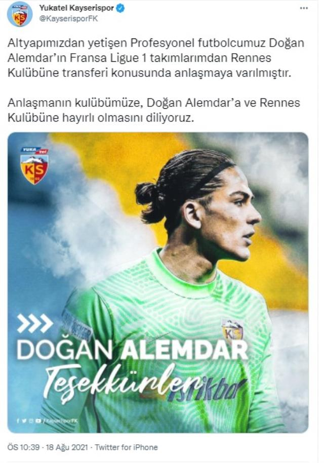 Son Dakika: Kayserispor'da Doğan Alemdar, Rennes'e transfer oldu