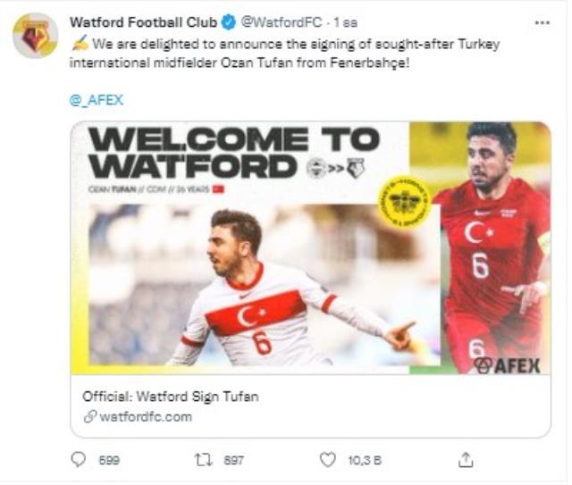 İngiliz ekibi Watford, Ozan Tufan'ı kadrosuna kattığı için çok mutlu