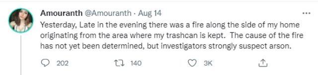 Twitch yayıncısı Amouranth, evindeki yangının kundaklama olduğundan şüpheleniyorlar!
