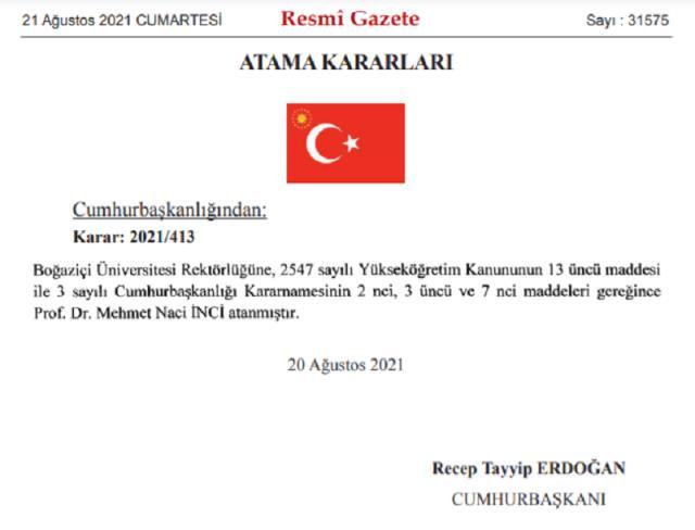 Boğaziçi Üniversitesi rektörlüğüne Prof. Dr. Mehmet Naci İnci atandı