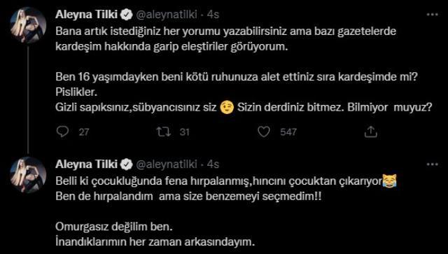 Aleyna Tilki, kardeşi hakkında yapılan yoruma ateş püskürdü: Sapıksınız, sübyancısınız
