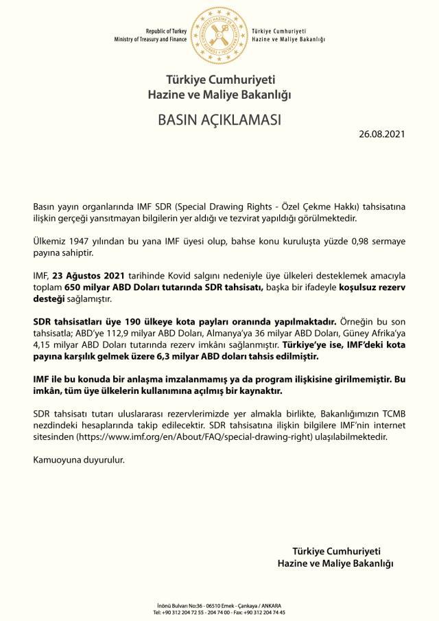 Son dakika: Hazine ve Maliye Bakanlığı, Türkiye'nin IMF'den borç aldığı iddialarını yalanladı: 6,3 milyar dolar Türkiye'nin kota payı