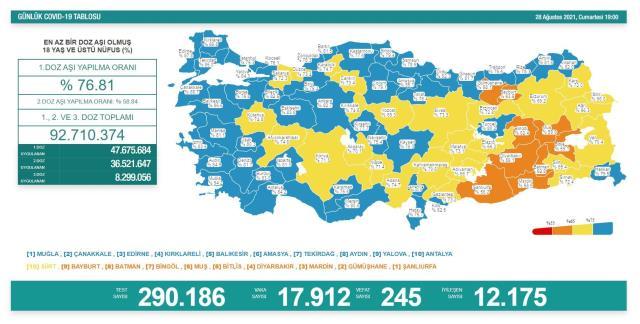 Son Dakika: Türkiye'de 28 Ağustos günü koronavirüs nedeniyle 245 kişi vefat etti, 17 bin 912 yeni vaka tespit edildi
