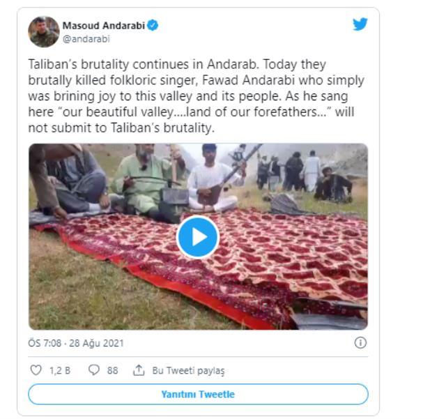 Afganistan'da müziği yasaklama kararı alan Taliban, halk müziği sanatçısı Favad Andarabi'yi öldürdü