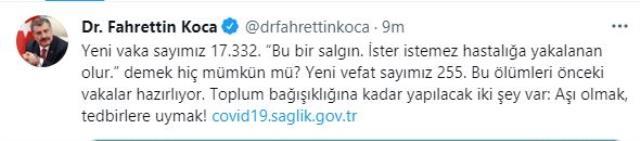 Son Dakika: Türkiye'de 29 Ağustos günü koronavirüs nedeniyle 255 kişi vefat etti, 17 bin 332 yeni vaka tespit edildi