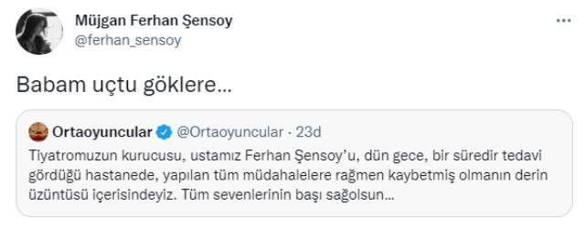 Ferhan Şensoy'un vefatının ardından, kızından yürek yakan paylaşım: Babam uçtu göklere
