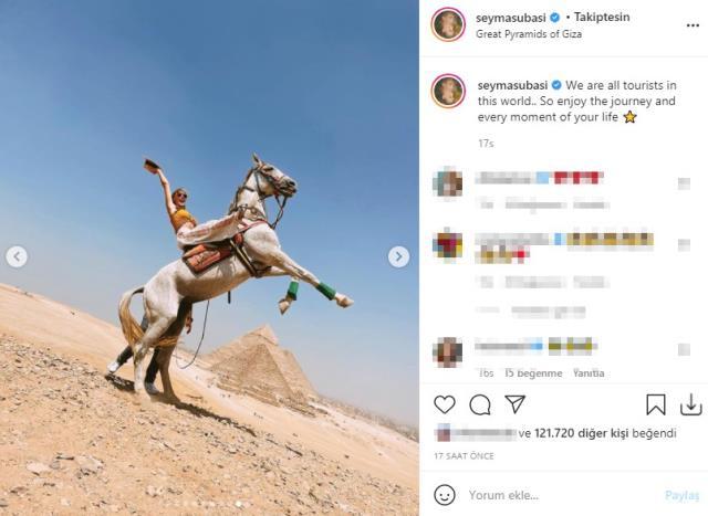 Tatile doymayan Şeyma Subaşı, bu sefer de at üstünde şaha kalktığı anları paylaştı