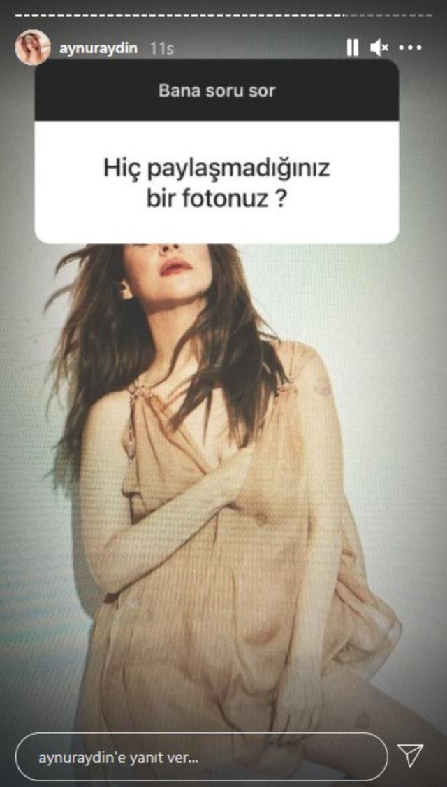 Aynur Aydın, 'Hiç paylaşmadığınız bir fotoğrafınız var mı?' sorusuna cesur pozunu paylaşarak cevap verdi