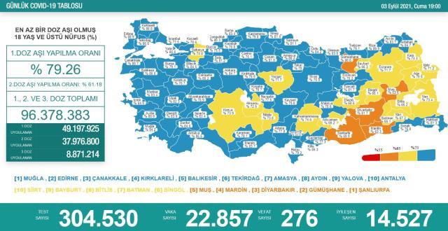 Son Dakika: Türkiye'de 3 Eylül günü koronavirüs nedeniyle 276 kişi vefat etti, 22 bin 857 yeni vaka tespit edildi