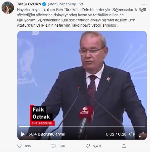 Tanju Özcan'dan 'Durumunu değerlendireceğiz' diyen partisine yanıt: Ben Atatürk'ün CHP'sinin neferiyim