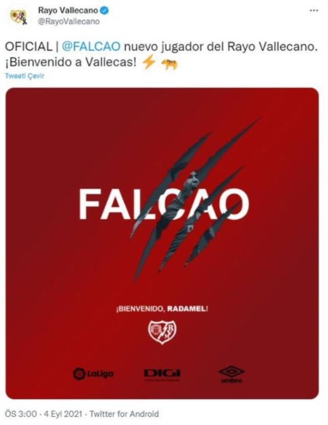 Son Dakika: Rayo Vallecano, Radamel Falcao'yu resmen kadrosuna kattı
