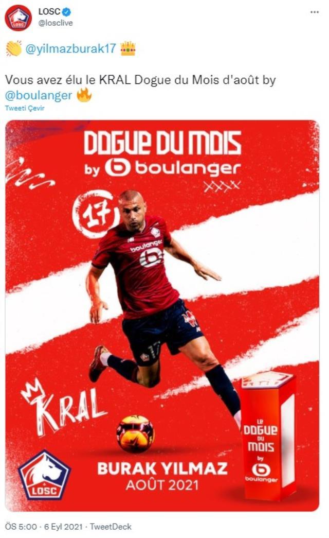 Fransa Ligue 1'de 'Kral' tahtına oturdu! Burak Yılmaz, ağustos ayının futbolcusu seçildi