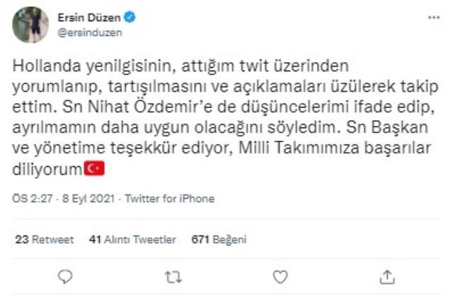 İlk istifa geldi ama beklenen isim değil! Şenol Güneş'i eleştiren Ersin Düzen TFF'den ayrıldı