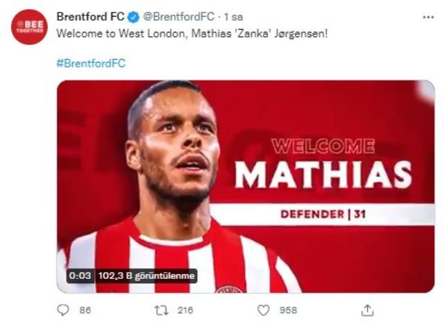 Fenerbahçe'yle yolları ayıran Mathias Zanka, Premier Lig ekibi Brentford'la sözleşme imzaladı