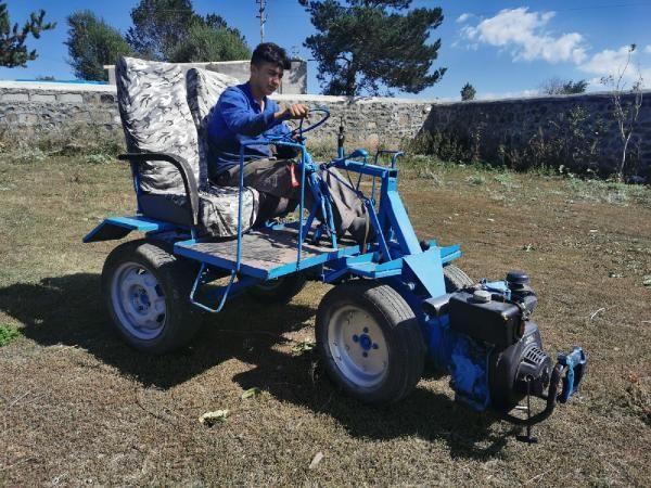 17 yaşındaki genç, hurdadan topladığı malzemelerle ATV yaptı