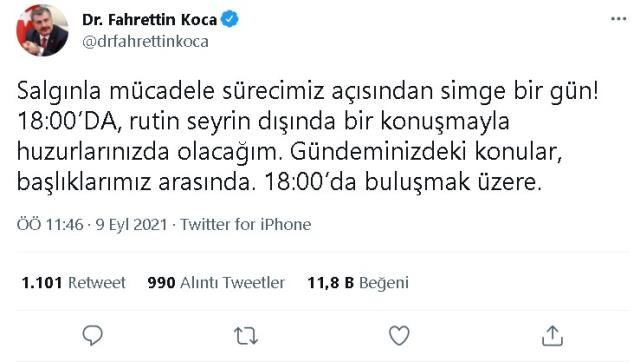 Saat 18:00'da ne olacak? Bakan Fahrettin Koca'nın saat 6'daki açıklaması nedir? Fahrettin Koca 9 Eylül saat 18:00'da ne dedi, açıklaması ne?