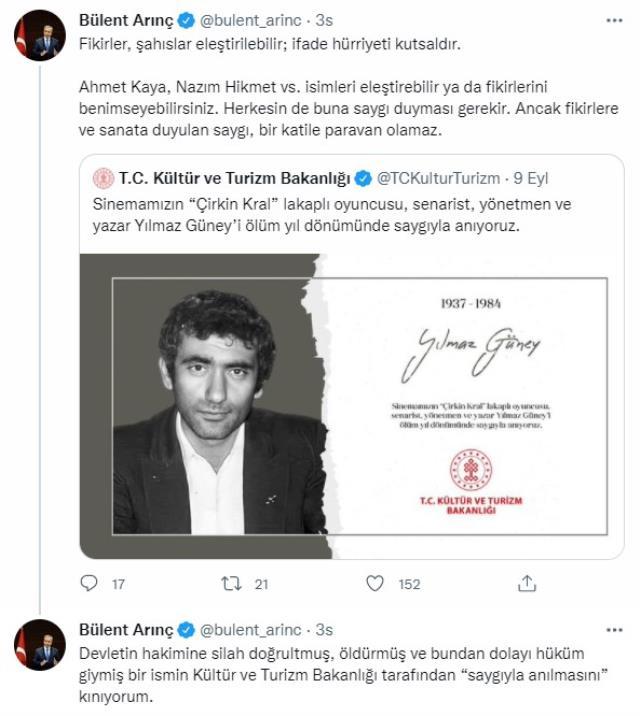 Bülent Arınç'tan Kültür ve Turizm Bakanlığı'nın Yılmaz Güney'i anmasına sert tepki: Kınıyorum