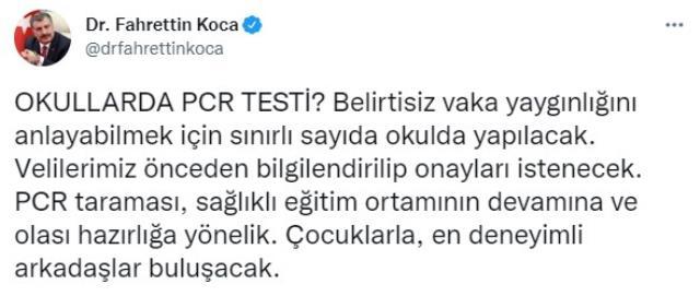 Son Dakika: Belirtisiz vaka yaygınlığını anlayabilmek için okullarda PCR testi dönemi başlıyor