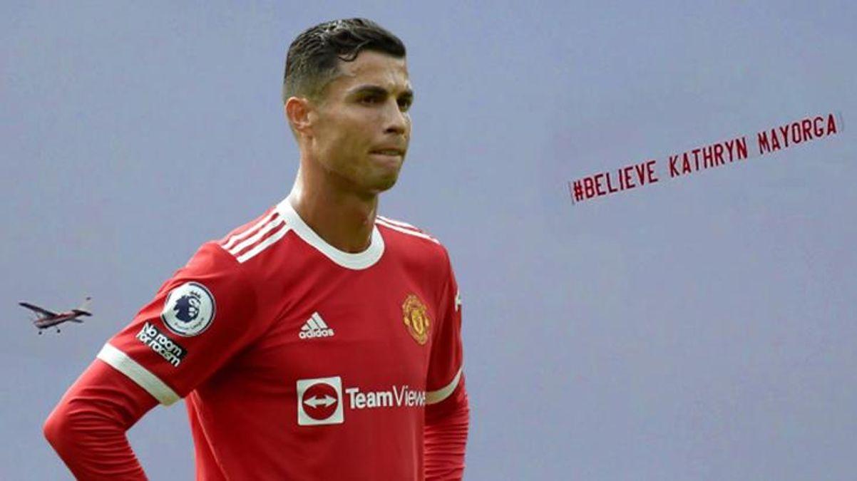 Hem de maç oynanırken! Protestocu uçaktan Ronaldo'ya yönelik ağır pankart