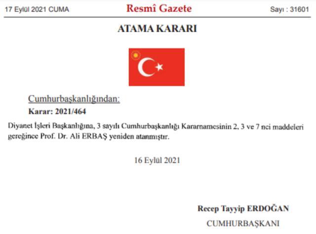 Diyanet İşleri Başkanlığı'na Prof. Dr. Ali Erbaş yeniden atandı