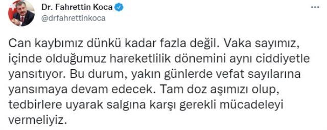 Son Dakika: Türkiye'de 17 Eylül günü koronavirüs nedeniyle 237 kişi vefat etti 27 bin 692 yeni vaka tespit edildi