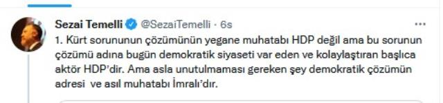 Kılıçdaroğlu'nun 'Kürt sorununu HDP ile çözebiliriz' sözlerine HDP'den yanıt: Çözümün adresi İmralı'dır