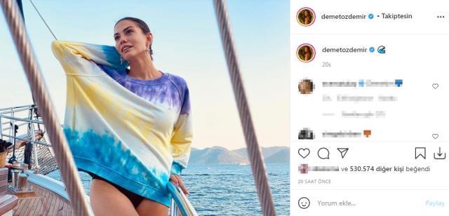 Oyuncu Demet Özdemir, teknede mini elbiseli pozlarını paylaştı, ilk yorum sevgilisi Oğuzhan Koç'tan geldi