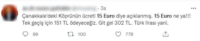 Çanakkale Köprüsü'nün geçiş ücretinin 15 euro olarak açıklanması sosyal medyayı karıştırdı