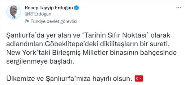 Cumhurbaşkanı Erdoğan, Göbeklitepe'deki dikilitaşın replikasını ziyaret etti