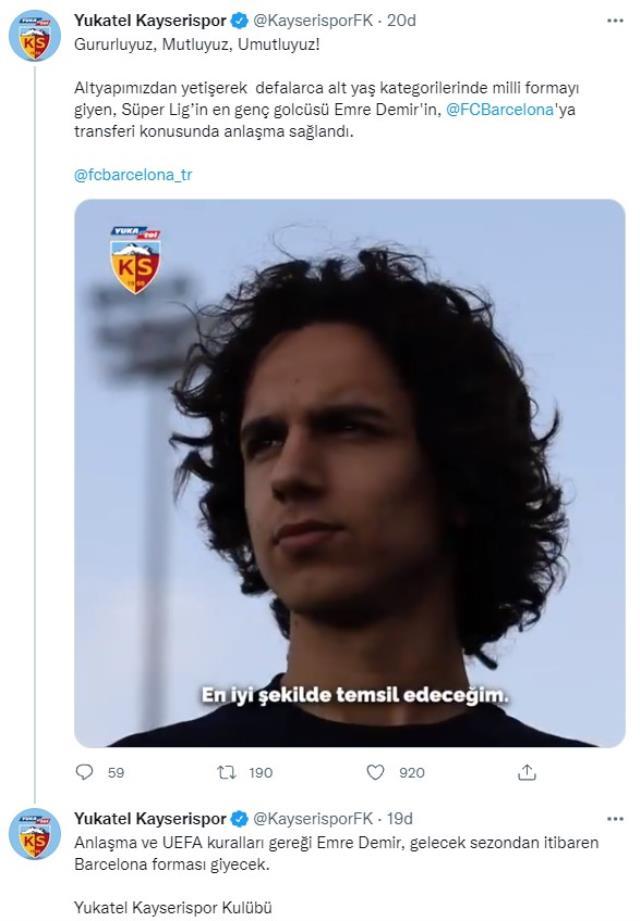 Barcelona, Kayserispor'un 17 yaşındaki yıldızı Emre Demir'i renklerine bağladı
