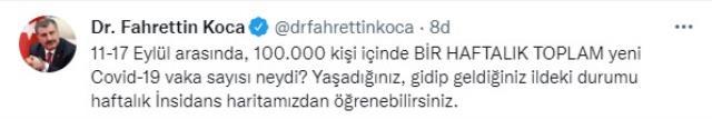 Son Dakika: İllere göre haftalık vaka haritası açıklandı! Trabzon ilk sırada