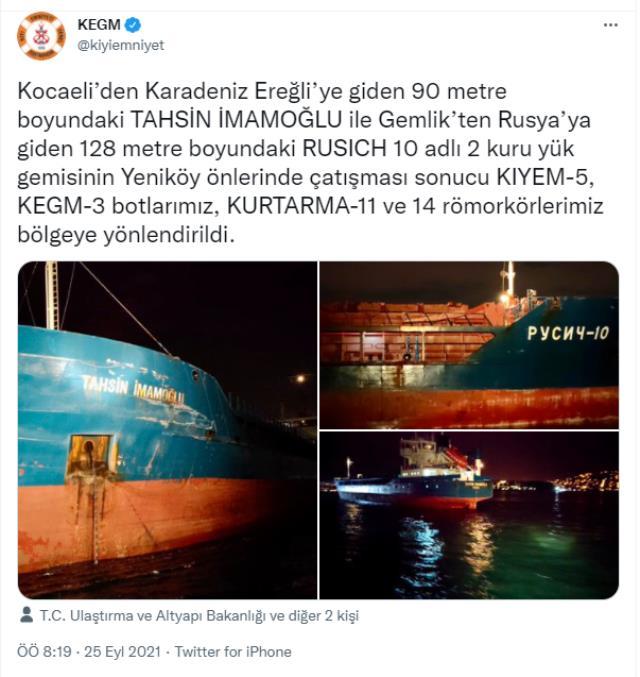 Son Dakika! Yeniköy'de Türk ve Rus bandralı iki kuru yük gemisi çarpıştı