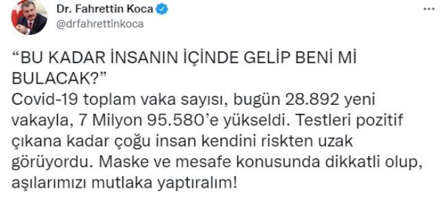 Son Dakika: Türkiye'de 28 Eylül günü koronavirüs nedeniyle 239 kişi vefat etti, 28 bin 892 yeni vaka tespit edildi