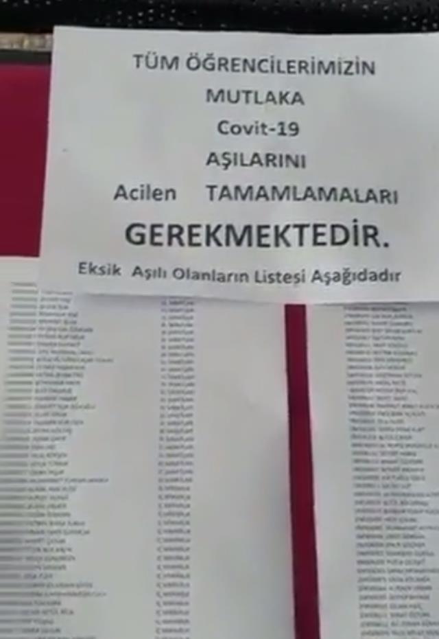 Selçuk Üniversitesi'ni karıştıran ifşa! Aşısız ve eksik aşılı öğrencilerin isimlerini panoya astılar