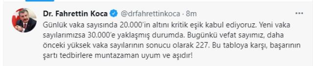 Son Dakika: Türkiye'de 29 Eylül günü koronavirüs nedeniyle 227 kişi vefat etti, 29 bin 386 yeni vaka tespit edildi